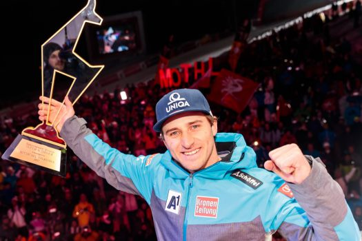20.01.2017, Hahnenkamm, Kitzbühel, AUT, FIS Weltcup Ski Alpin, Kitzbuehel, Super G, Herren, Siegerehrung, im Bild Sieger Matthias Mayer (AUT) // Winner Matthias Mayer of Austria during the winner Ceremony for the men's SuperG of FIS Ski Alpine World Cup at the Hahnenkamm in Kitzbühel, Austria on 2017/01/20. EXPA Pictures © 2017, PhotoCredit: EXPA/ Johann Groder
